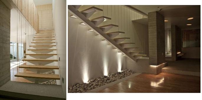 escada jardim embaixo:Reparem nas pedras embaixo da escada. É uma alternativa ao jardim de