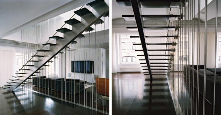 escada jardim madeira:Escada com Guarda-Corpo de Cabos Metálicos