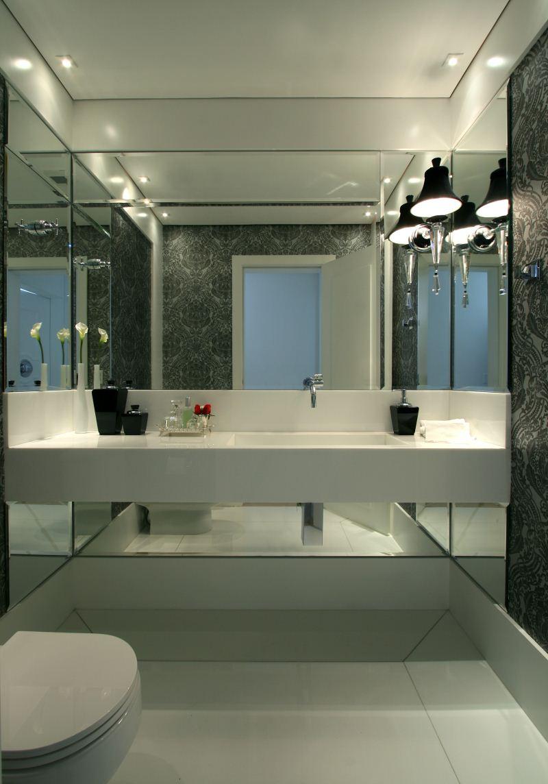 Lavabos com Espelho do Teto ao Chão – Parte 2  tijolosetecidos -> Banheiro Pequeno Com Espelho Ate O Teto