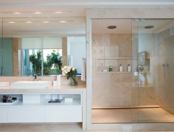 Banheiro com Box até o Teto  tijolosetecid -> Banheiro Pequeno Com Espelho Ate O Teto