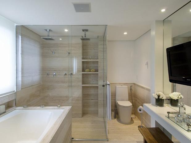 Banheiro com Box até o Teto  tijolosetecidos -> Decoracao De Banheiro Com Vaso Cinza