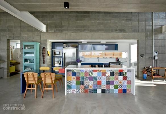 Cozinha  tijolosetecidos # Bancada Para Cozinha De Alvenaria