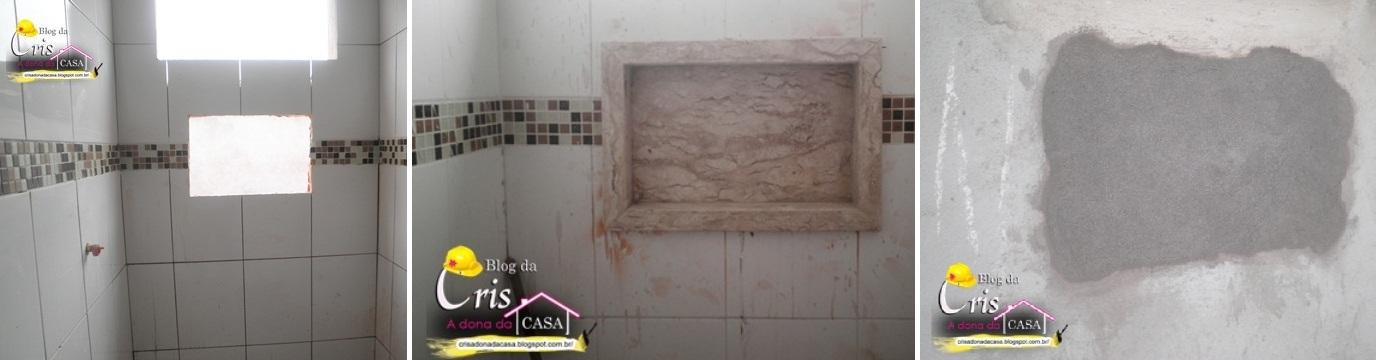 Nicho no Box – Dimensões e Como Fazer  tijolosetecidos -> Nicho Banheiro Vertical