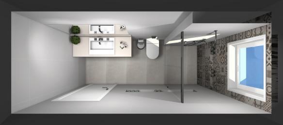 Revestimentos do Banheiro 2 – Projeto em 3D  tijolosetecidos -> Banheiro Comprido E Estreito Com Banheira